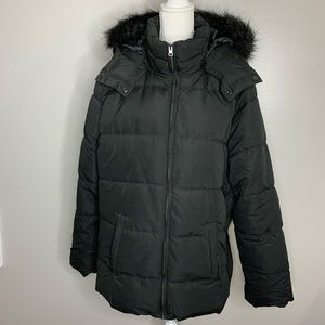Old Navy black puffer jacket with fur hood